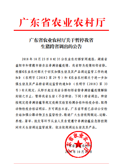 广东暂停生猪跨省调出,种猪检疫合格方可出省!