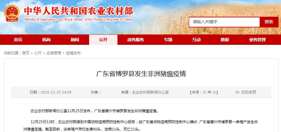广东省博罗县发生非洲猪瘟疫情