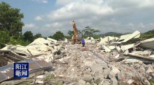 广东阳江市阳东区一违建猪场被依法拆除 猪场处在禁养禁建区