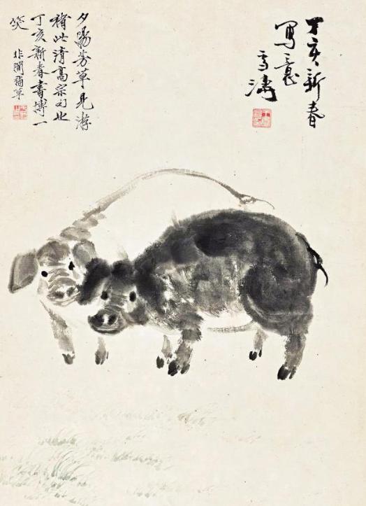 古代绘画中的猪十分罕见,清末近现代逐渐增多