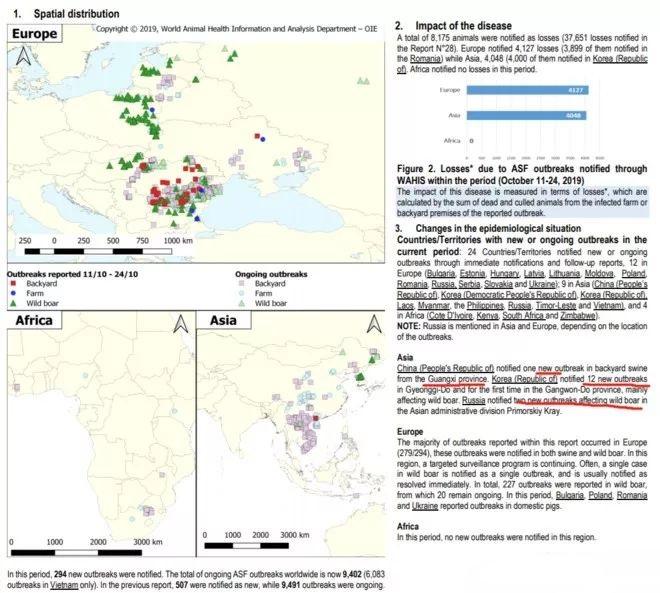 10月亚洲非瘟疫情