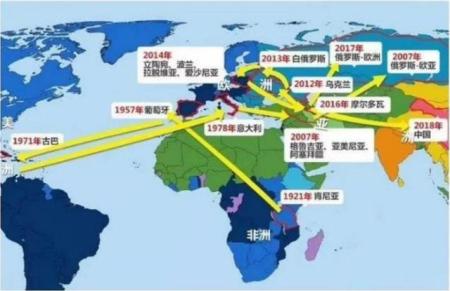 非瘟在全球传播路径
