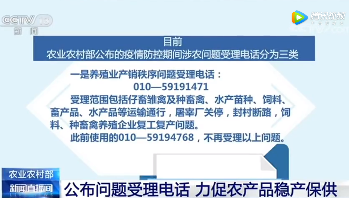 农业农村部:公布问题受理电话 力促农产品稳产保供