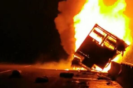 沈海高速上大货车起火 90余头生猪葬身火海