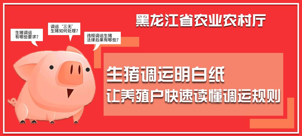 黑龙江农业厅印发生猪调运明白纸,关于生猪调运规定,你想知道的都有!