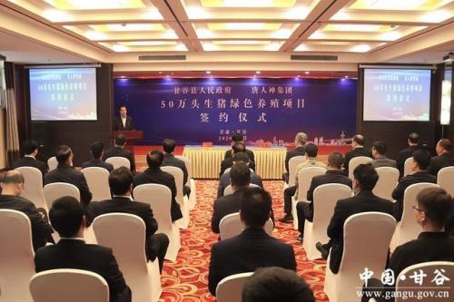 甘肃甘谷县与唐人神签订50万头生猪绿色养殖项目