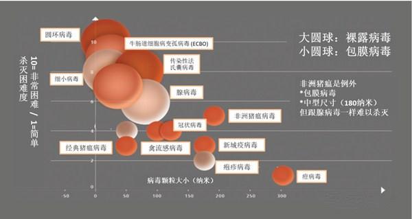 图1. 病毒对消毒剂的敏感性分类。小型且裸露的病毒比大型包膜病毒更难杀灭