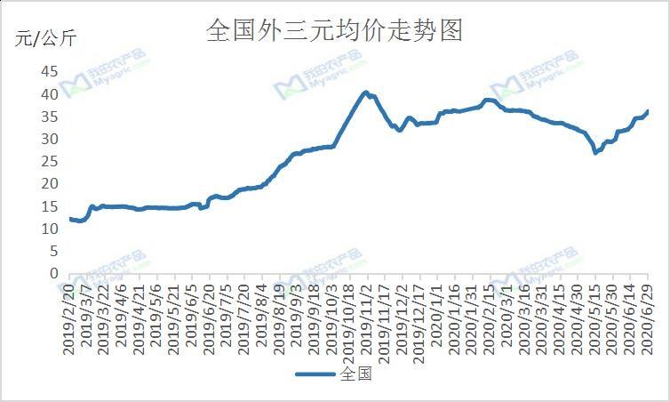 2019-2020年全国外三元生猪出栏价格走势图