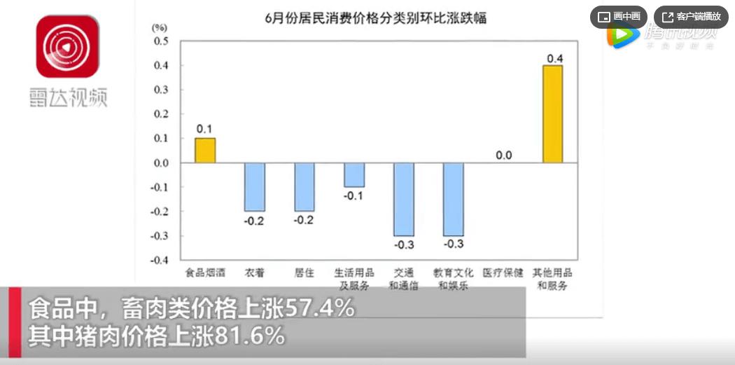 2020年6月份居民消费价格同比上涨2.5%,猪肉价格上涨81.6%