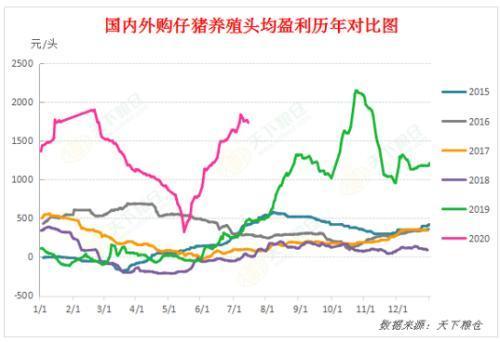 历年国内外购仔猪生猪养殖头均盈利对比图