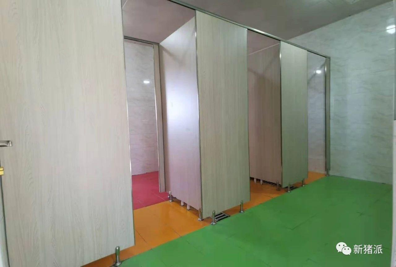 猪舍配套人员淋浴间采用颜色分区标识