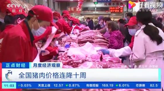 农业农村部:全国猪肉价格连降十周,同比下降23.7%