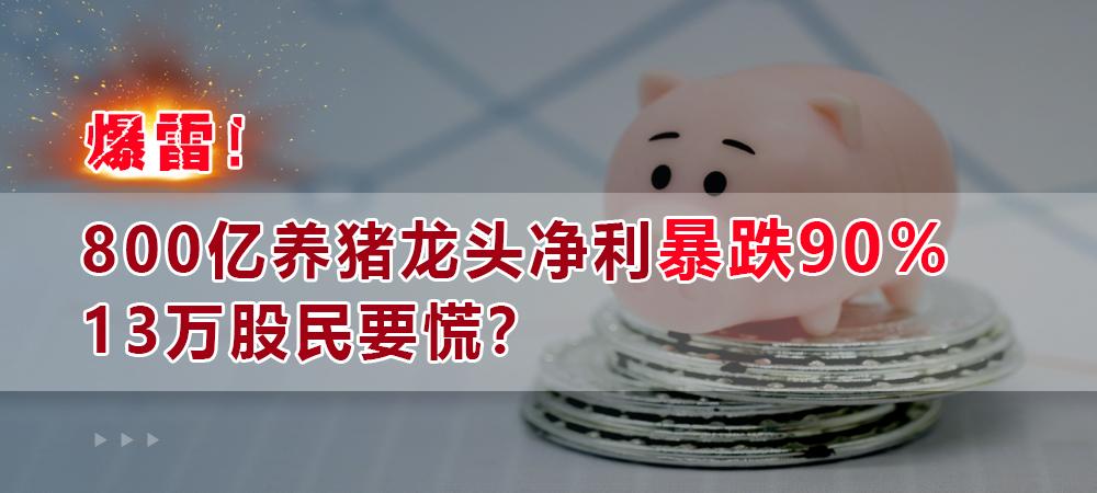 爆雷!800亿养猪龙头净利暴跌90%,13万股民要慌?更有券商暴跌94%